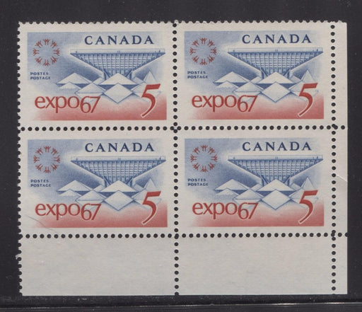 Canada #469 (SG#611) 5c Blue and Red Expo 67 DF-fl BW, LF, VF Ribbed Paper LR Block VF-84 NH Brixton Chrome