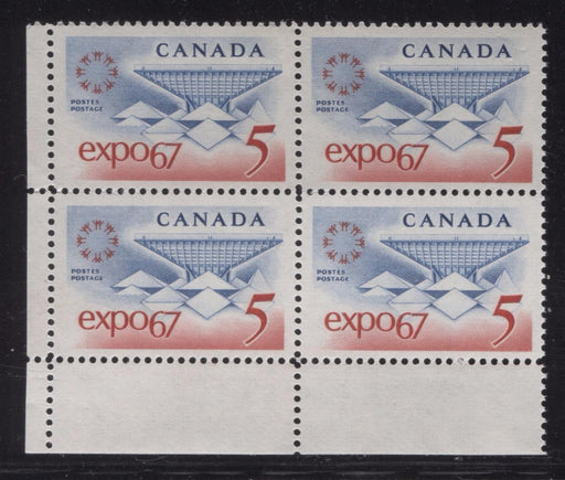 Canada #469 (SG#611) 5c Blue and Red Expo 67 DF-fl GW, LF, VF Paper Smooth Gum LL Block VF-80 NH Brixton Chrome