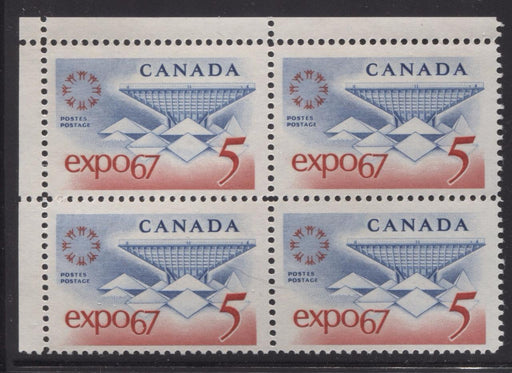 Canada #469 (SG#611) 5c Blue and Red Expo 67 DF-fl GW, LF, VF Paper Streaky Gum UL Block F-70 NH Brixton Chrome