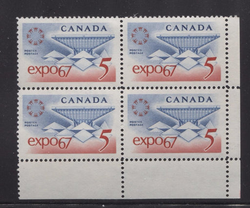 Canada #469 (SG#611) 5c Blue and Red Expo 67 DF-fl IV, LF, 1-2 Fibres Paper Smooth Gum LR Block VF-80 NH Brixton Chrome