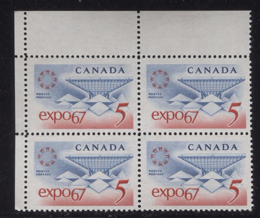 Canada #469 (SG#611) 5c Blue and Red Expo 67 DF-fl IV, LF Paper, Streaky Gum UL Block VF-75 NH Brixton Chrome