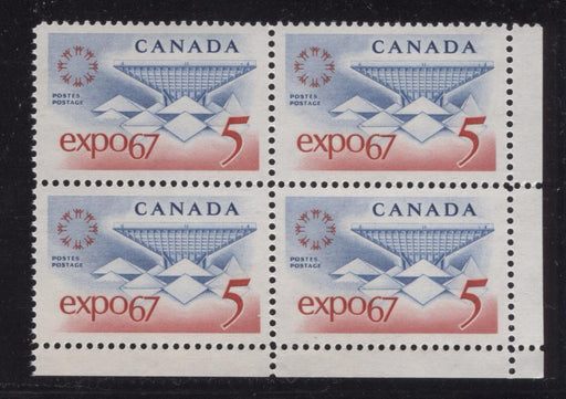 Canada #469 (SG#611) 5c Blue and Red Expo 67 DF-fl IV LF, VF Paper, Streaky Gum LR Block VF-80 NH Brixton Chrome