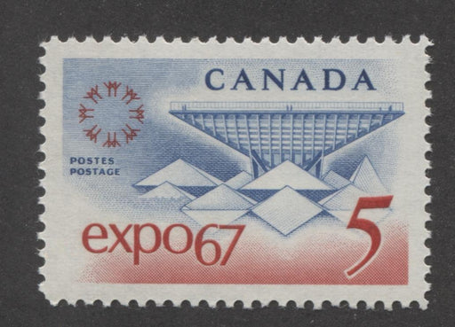 Canada #469 (SG#611) 5c Blue and Red Expo 67 DF GW, Ribbed Paper Streaky Gum VF-84 NH Brixton Chrome