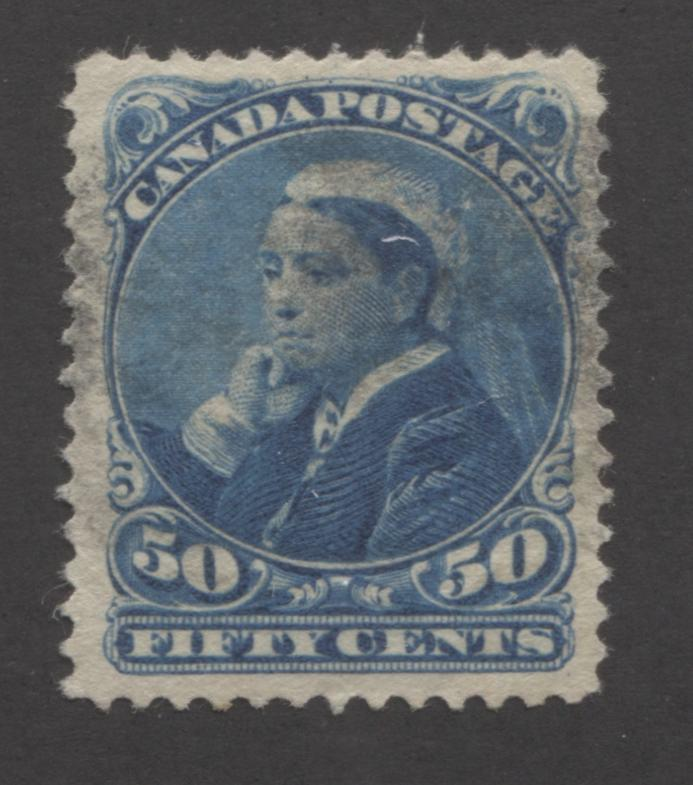 Canada #47 50c Deep Blue Queen Victoria, 1897 Diamond Jubilee Issue, A Very Fine Used Example on Soft Horizontal Wove Paper Brixton Chrome