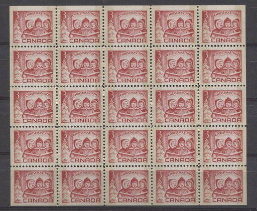 Canada #476q (SG#618p) 3c Carmine Red 1967 Christmas Issue Tagged Pane of 25 VF-80 NH Brixton Chrome
