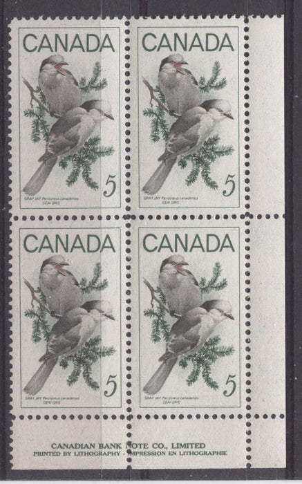 Canada #478 (SG#620) 5c Green, Black And Red 1968 Gray Jays LR Inscription Block On DF-fl, MF, S Paper VF 75/80 NH Brixton Chrome