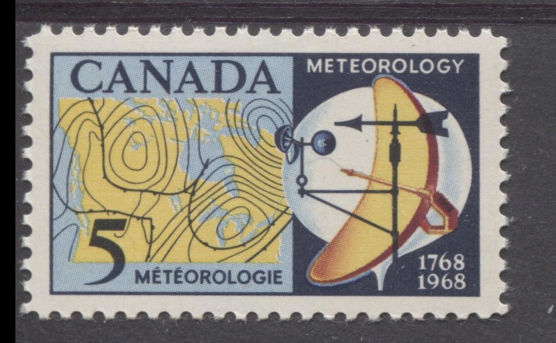 Canada #479 (SG#621) 5c Dark/Light Blue, Yellow And Red 1968 Meteorology Issue NF/DF Paper VF 84 NH Brixton Chrome