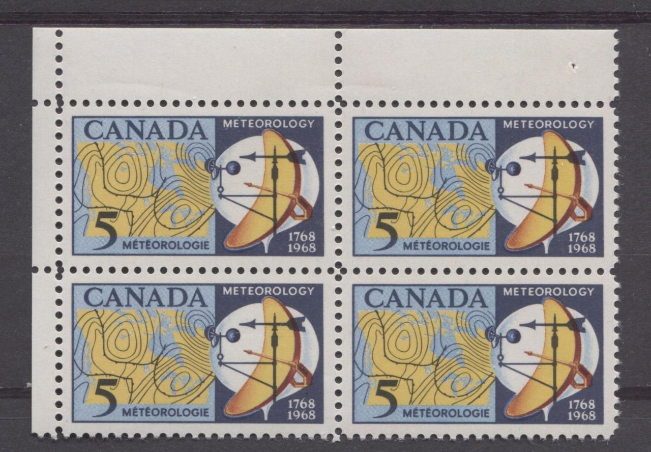 Canada #479 (SG#621) 5c Dark/Light Blue, Yellow And Red 1968 Meteorology Issue UL Field Stock Block On DF Paper VF 75/80 NH Brixton Chrome