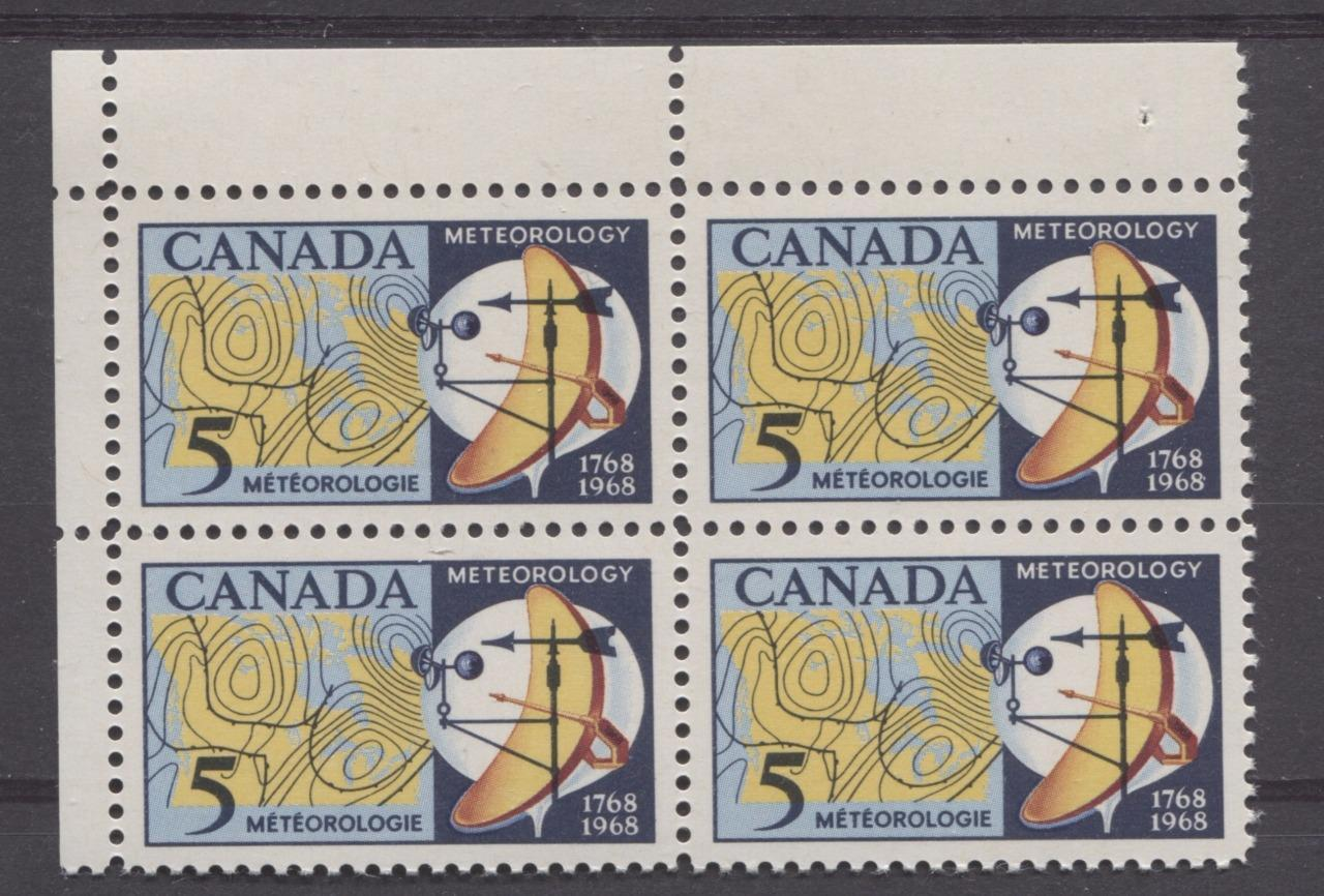 Canada #479 (SG#621) 5c Dark/Light Blue, Yellow And Red 1968 Meteorology Issue UL Field Stock Block on DF Paper VF 84 NH Brixton Chrome