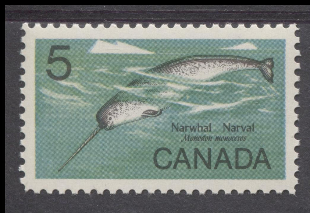 Canada #480i (SG#622a) 5c Multicoloured 1968 Narwhal DF Paper VF 84 NH Brixton Chrome