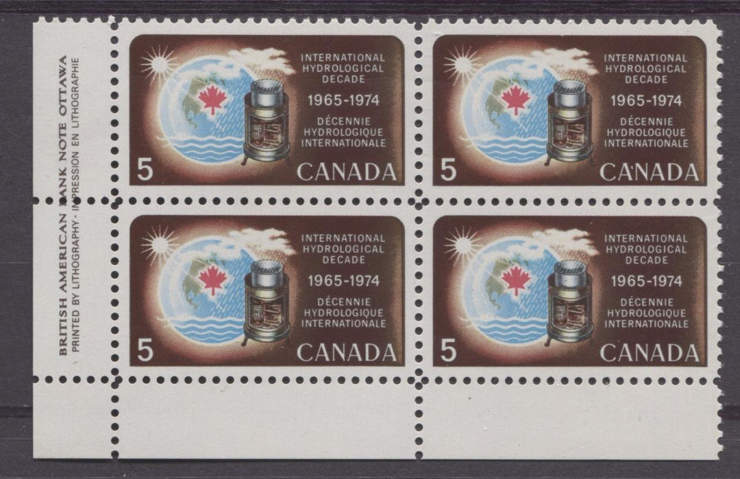 Canada #481 (SG#623) 5c Multicoloured 1968 International Hydrological Decade Issue LL Inscription Block On DF Paper VF 75/80 NH Brixton Chrome