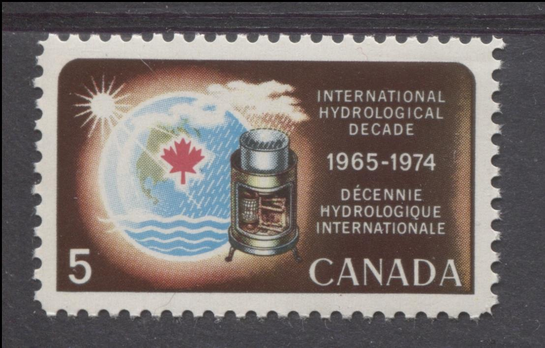 Canada #481 (SG#623) 5c Multicoloured 1968 International Hydrological Decade Issue NF/DF Paper VF 84 NH Brixton Chrome