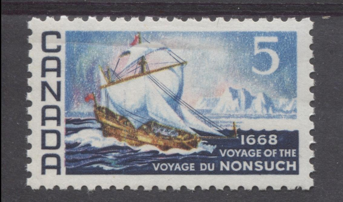 Canada #482 (SG#624) 5c Dark Blue And Multicoloured 1968 Voyage of Nonsuch Issue NF/DF-fl, LF, S Paper VF 75/80 NH Brixton Chrome