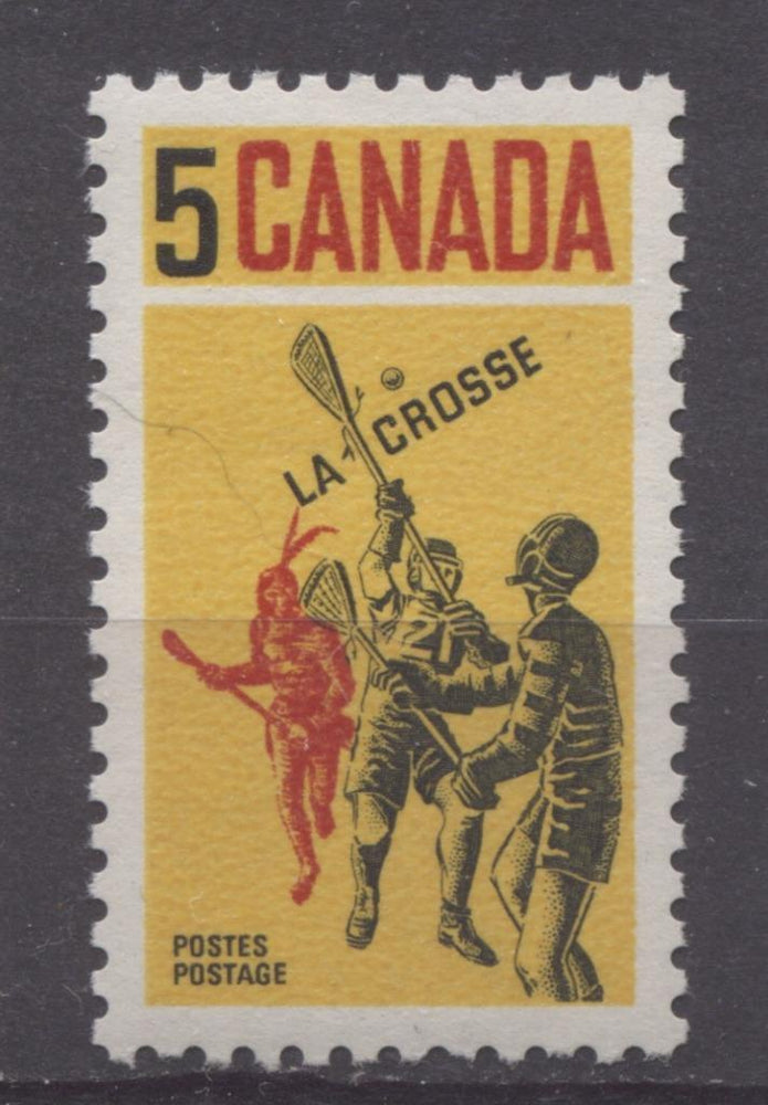 Canada #483 (SG#625) 5c Yellow, Black And Red 1968 Lacrosse Issue DF-fl, HF, S Paper VF 75/80 NH Brixton Chrome