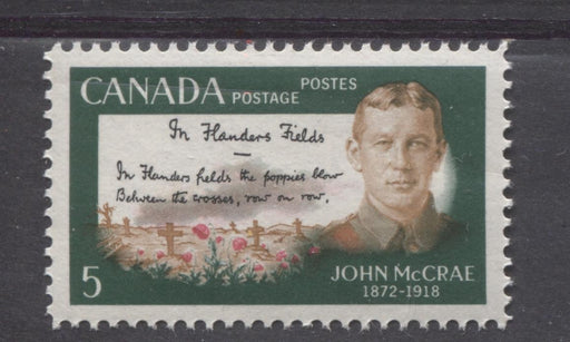 Canada #487 (SG#628) 5c Multicoloured 1968 John McCrae Issue On HF/MF Paper VF 84 NH Brixton Chrome