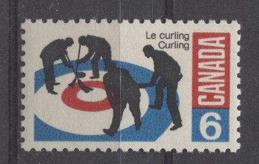 Canada #490i (SG#632) 1969 6c Black, Bright Blue And Carmine Curlers On DF Paper VF 75/80 NH Brixton Chrome