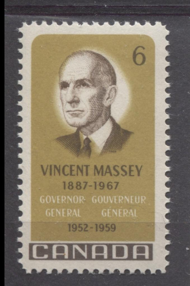 Canada #491 (SG#633) 1969 6c Yellow Olive And Dark Brown Vincent Massey Issue HF/MF-fl, HB, S Paper VF 75/80 NH Brixton Chrome