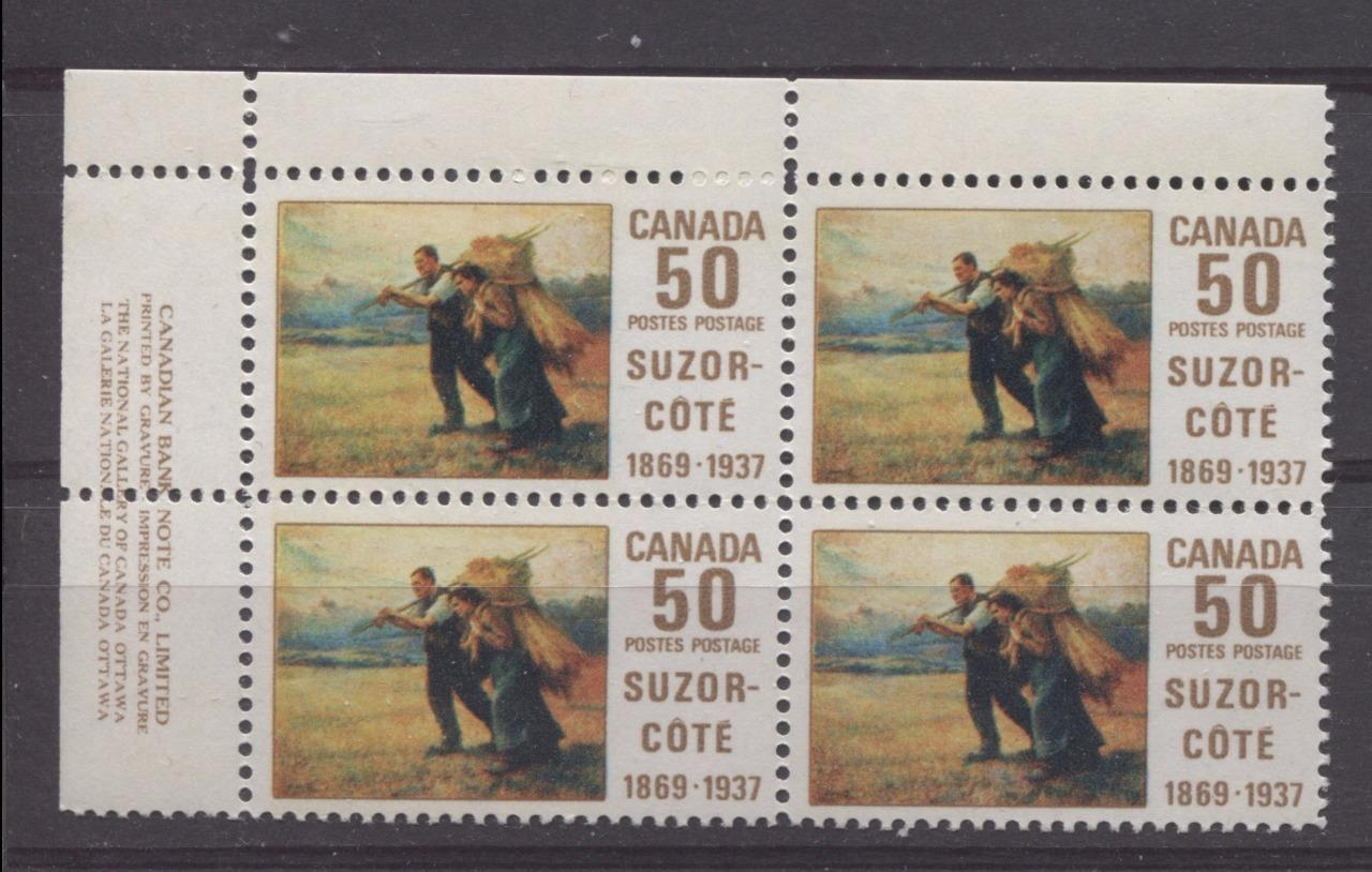 Canada #492 (SG#634) 50c Multicoloured 1969 Suzor-Cote Issue UL Inscription Block On HB Paper VF 75/80 NH Brixton Chrome