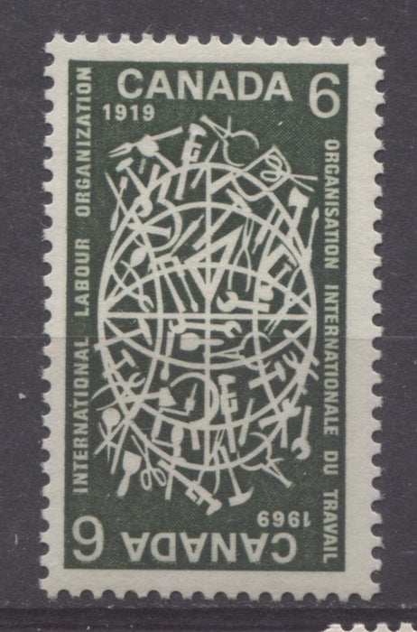Canada #493i (SG#635a) 1969 6c Bronze Green 1969 International Labour Organization Issue DF Paper VF 75/80 NH Brixton Chrome
