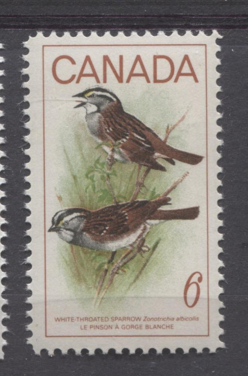 Canada #496 (SG#638) 1969 6c Multicolored White Throated Sparrow HF/MF Paper VF 75/80 NH Brixton Chrome