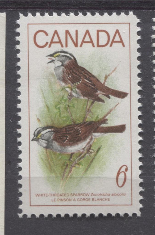 Canada #496 (SG#638) 1969 6c Multicolored White Throated Sparrow On HF/MF Paper VF 84 NH Brixton Chrome