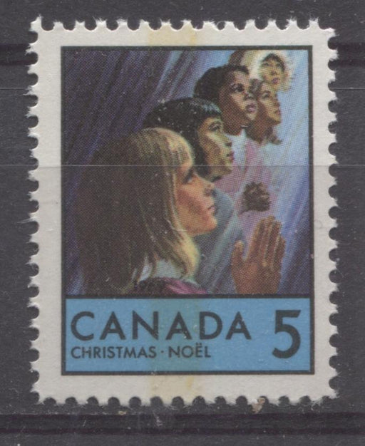 Canada #502p (SG#644p) 5c Blue, Multicolored Children Praying 1969 Christmas Issue WCB Tagged HF Paper VF 75/80 NH Brixton Chrome