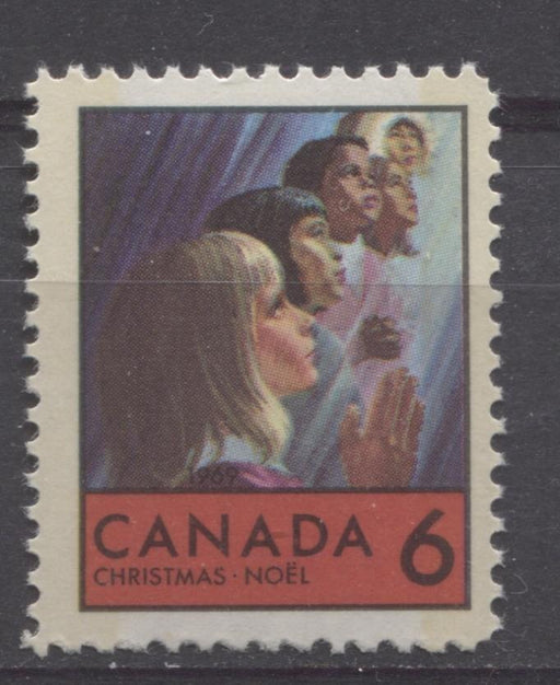 Canada #503p (SG#645p) 6c Multicolored Children Praying, 1969 Christmas Issue, HF Paper VF 75/80 NH Brixton Chrome