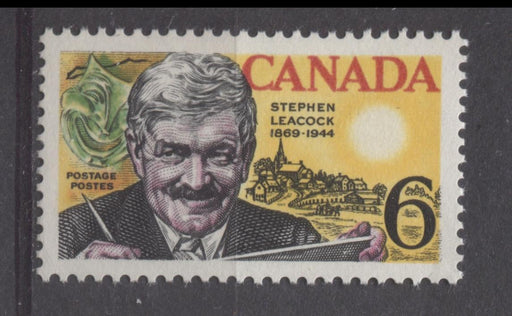 Canada #504 (SG#646) 6c Multicolored 1969 Stephen Leacock Issue DF/DF-fl, LF, S Paper VF 84 NH Brixton Chrome