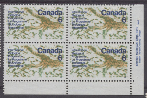Canada #507 (SG#649) 6c Multicoloured 1970 International Biological Programme Plate 1 LR On DF Paper VF 75/80 NH Brixton Chrome
