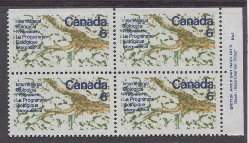 Canada #507 (SG#649) 6c Multicoloured 1970 International Biological Programme Plate 1 UR On DF Paper VF 75/80 NH Brixton Chrome