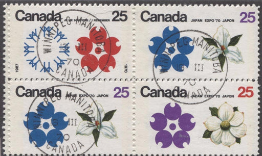 Canada #508p, 509p, 511p (SG#650p, 651p, 653p) 25c Multicoloured 1970 Expo '70 Issue W2B Tagging ON NF/DF-fl, HF, LD Paper VF 75/80 Used Brixton Chrome