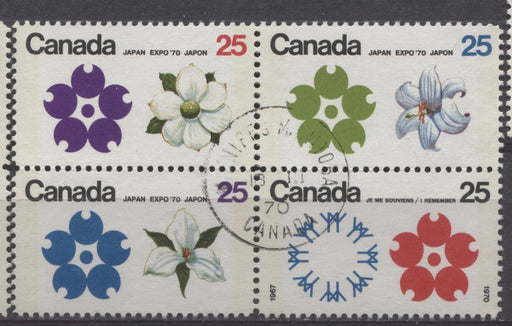 Canada #511b (SG#650pa) 25c Multicoloured Emblems 1970 Expo '70 Issue W2B Tagged Block NF/DF-fl, HF, LD Paper VF 75/80 Used Brixton Chrome