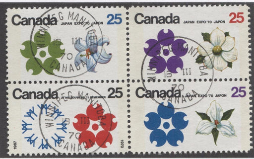 Canada #511b (SG#650pa) 25c Multicoloured Emblems 1970 Expo '70 Issue W2B Tagged Block NF/DF-fl, HF, S Paper VF 75/80 Used Brixton Chrome