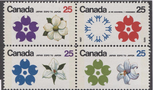 Canada #511b (SG#650pa) 25c Multicoloured Emblems 1970 Expo '70 Issue W2B Tagged Block On NF/DF-fl, LF, LD Paper VF 75/80 NH Brixton Chrome