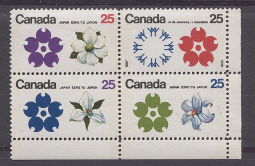 Canada #511b (SG#650pa) 25c Multicoloured Emblems 1970 Expo '70 Issue W2B Tagged LR Block NF/NF-fl, LF, S Paper VF 75/80 NH Brixton Chrome