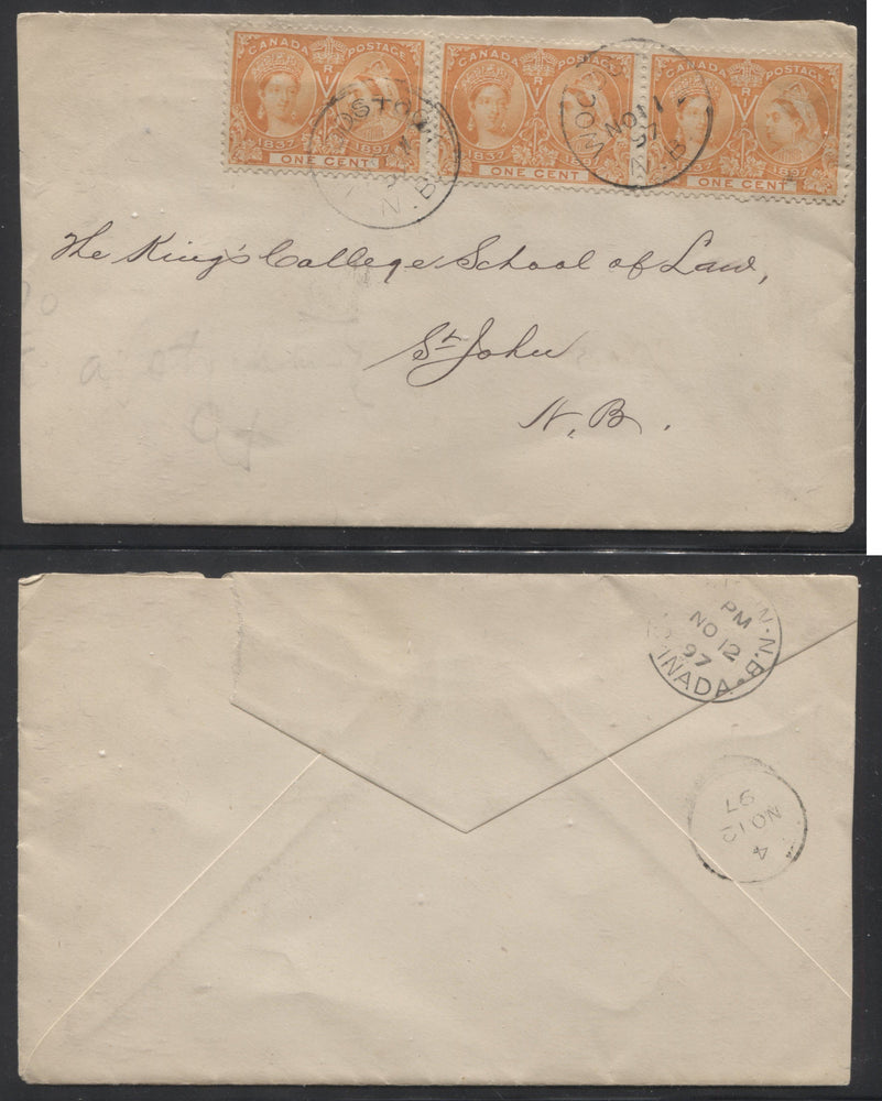 Canada #51i 1c Orange Queen Victoria, 1897 Diamond Jubilee Issue Pair and Single Used on November 1897 Cover From Woodstock, NB to Saint John Brixton Chrome