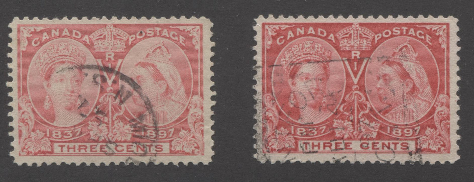 Canada #53, 53i 3c Bright Rose and Pale Rose Queen Victoria, 1897 Diamond Jubilee Issue, Very Fine Used Singles Brixton Chrome