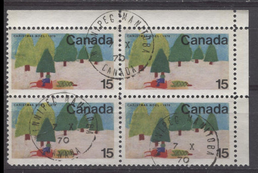 Canada #530p (SG#672p) 15c Multicolored Snowmobile 1970 Christmas Issue W2B Tagged UR Inscription Block MF/HB Paper VF 75/80 Used Brixton Chrome