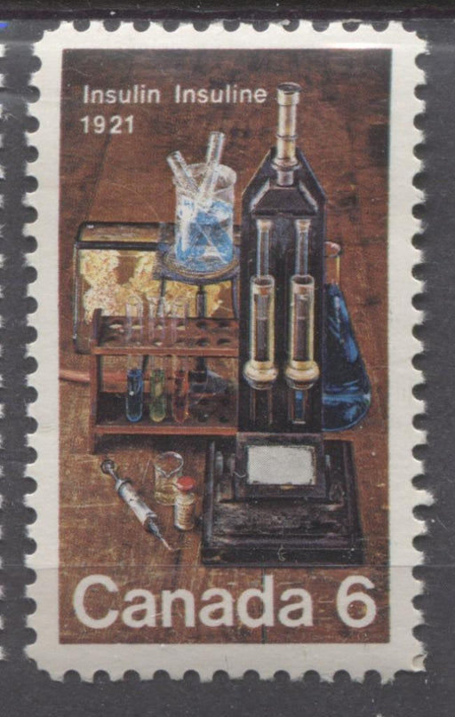 Canada #533 (SG#675) 6c Multicoloured Lab Equipment 1971 Discovery Of Insulin Issue MF/HF Paper VF 75/80 NH Brixton Chrome