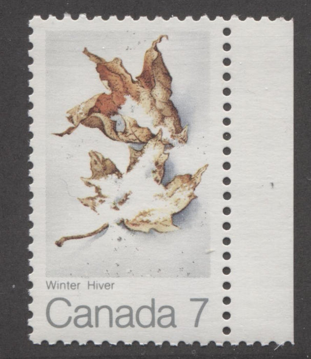 Canada #538 (SG#680) 7c Multicoloured Winter 1971 Maple Leaf In Four Seasons Issue LF/LF Horizontal Wove VF-84 NH Brixton Chrome