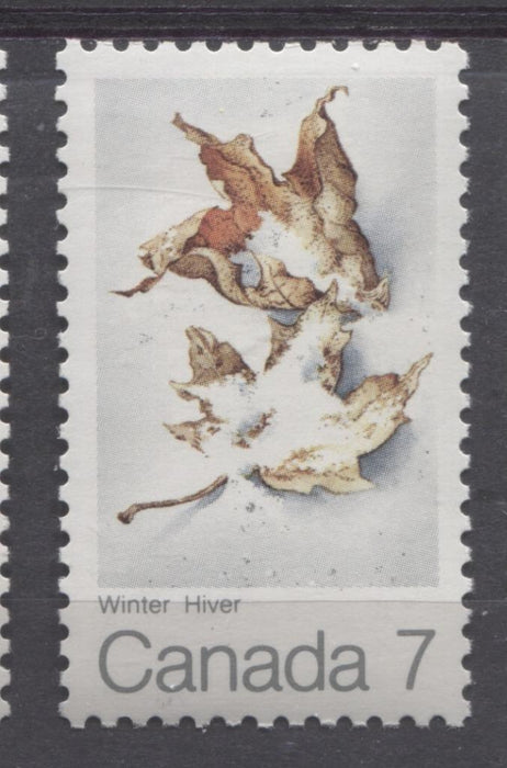 Canada #538 (SG#680) 7c Multicoloured Winter 1971 Maple Leaf In Four Seasons MF-fl/LF Paper VF-80 NH Brixton Chrome