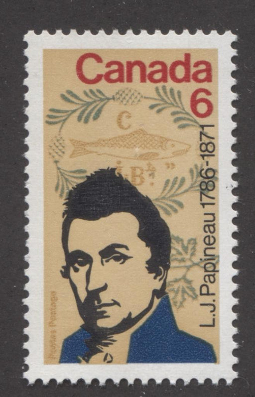 Canada #539i (SG#681) 6c Multicoloured 1971 Papineau Death Centenary Issue DFGr/DFgr-fl, LF-S Paper VF-84 NH Brixton Chrome