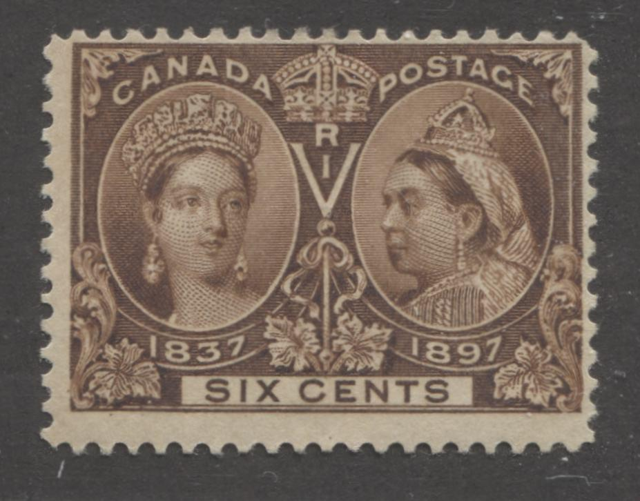 Canada #55 6c Deep Yellow Brown 1897 Diamond Jubilee Issue Very Fine Mint Single Brixton Chrome