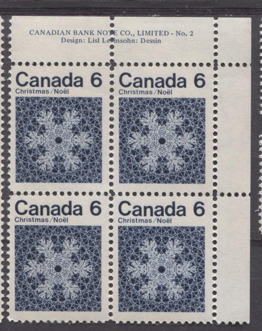 Canada #554i (SG#687o) 6c Deep Blue Snowflake 1971 Christmas Issue Plate 2 DF-fl Paper F-70 NH Brixton Chrome