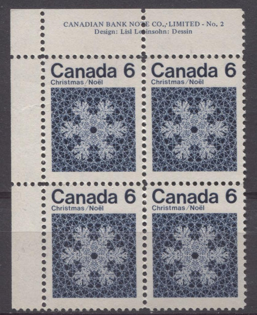 Canada #554i (SG#687o) 6c Deep Blue Snowflake 1971 Christmas Issue Plate 2 UL DF-fl Paper VF-75/80 NH Brixton Chrome