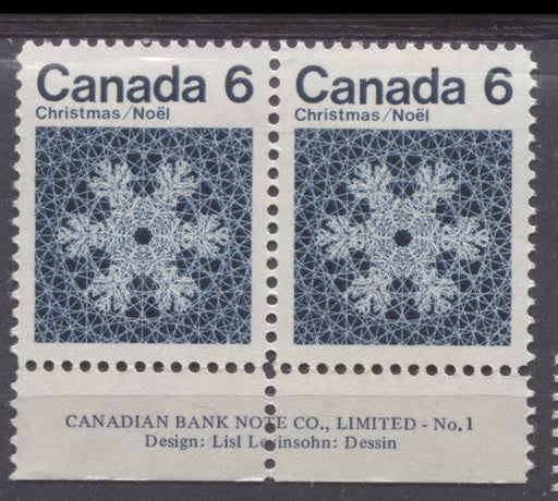 Canada #554i (SG#687o) 6c Indigo Snowflake 1971 Christmas Issue DF-fl, MF, VVS Paper Margin Pair VF-84 NH Brixton Chrome