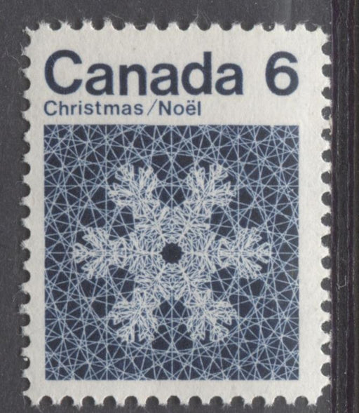 Canada #554i (SG#687o) 6c Indigo Snowflake 1971 Christmas Issue DF-fl, MF, VVS Paper VF-75/80 NH Brixton Chrome