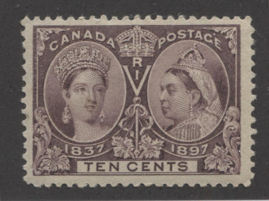 Canada #57 10c Deep Brown Violet Queen Victoria, 1897 Diamond Jubilee Issue, Very Fine Mint OG Single Brixton Chrome