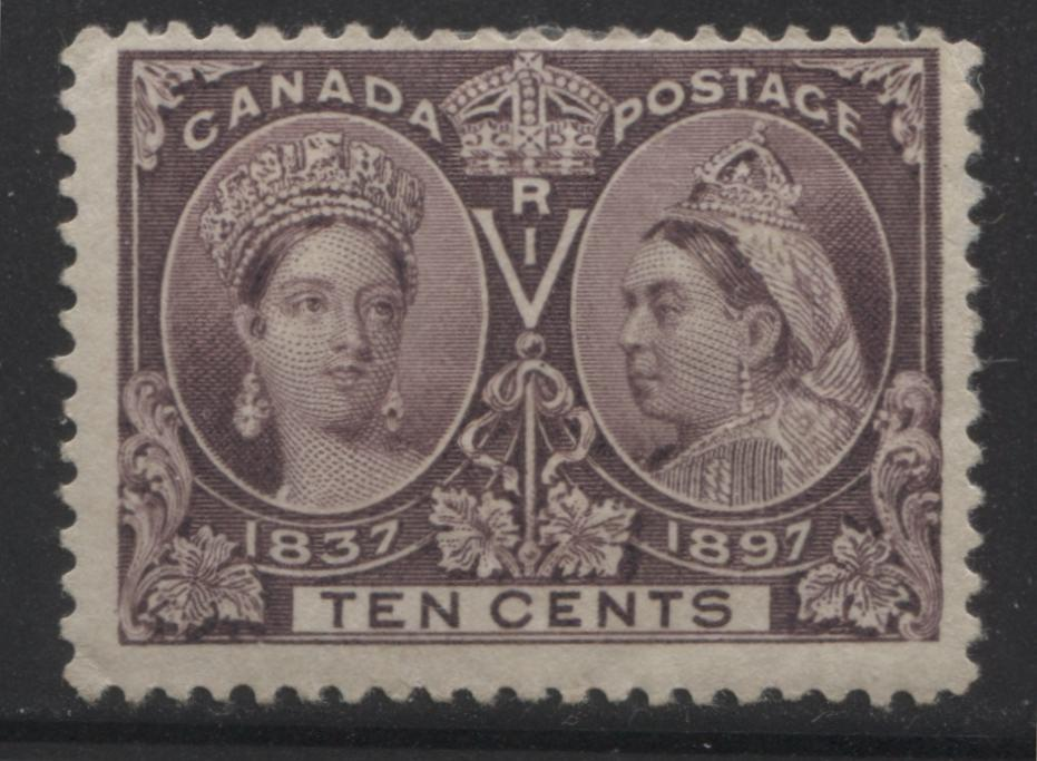 Canada #57 10c Deep Brown Violet Queen Victoria, 1897 Diamond Jubilee Issue Very Good Mint OG Example Brixton Chrome
