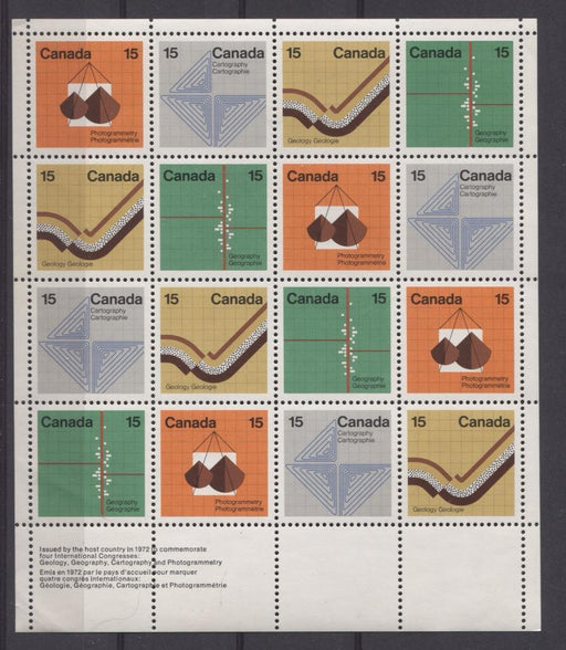 Canada #585a (SG#741a) 15c Multicoloured 1972 Earth Sciences Field Stock Sheet MF/MF Paper VF-84 NH Brixton Chrome